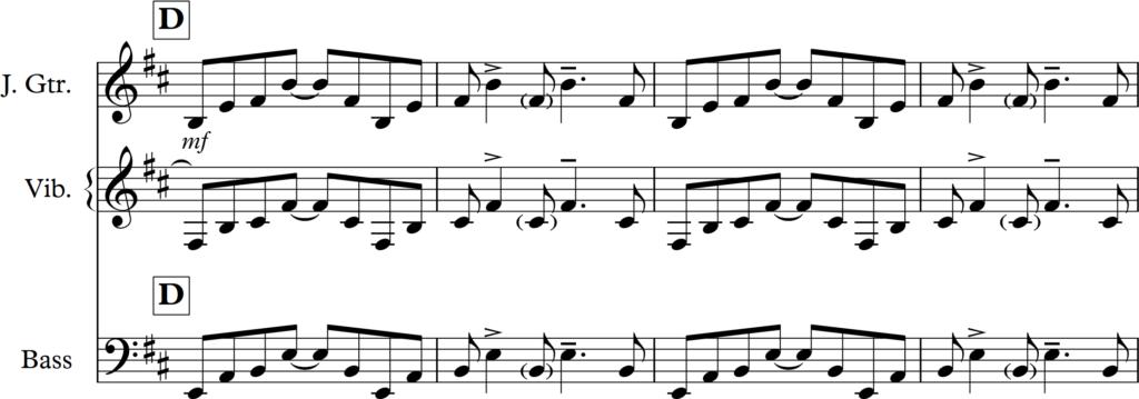 Obrázek 4: Ostinátní figura pod klarinetovým sólem v I. větě