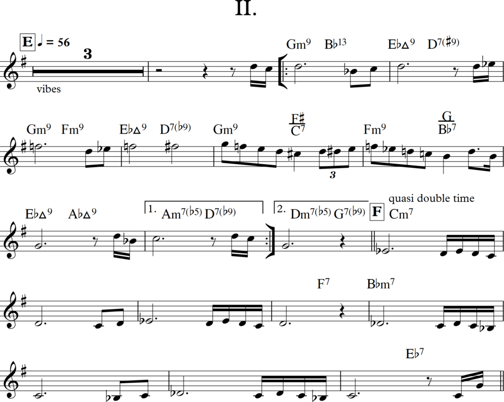 Obrázek 6: Dialog klarinetu a vibrafonu, II. věta
